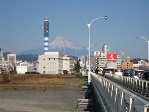 安倍川から見た富士山