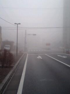 この日は霧がすごかった。@荒川沖